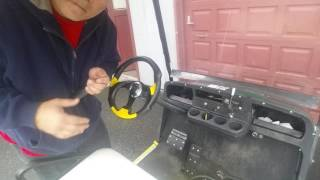 Pulling the steering wheel off without a wheel puller , installing aftermarket wheel, moo-Linda Cow Horn from Ebay ,