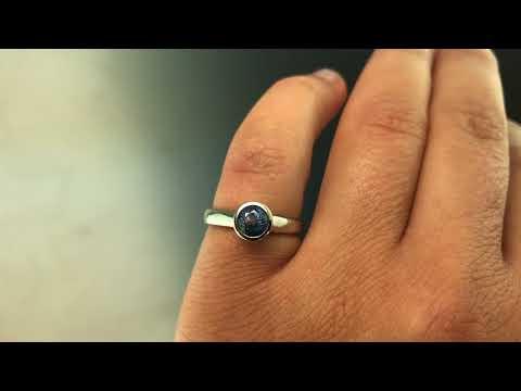 5.5mm blue Montana sapphire bezel set engagement ring