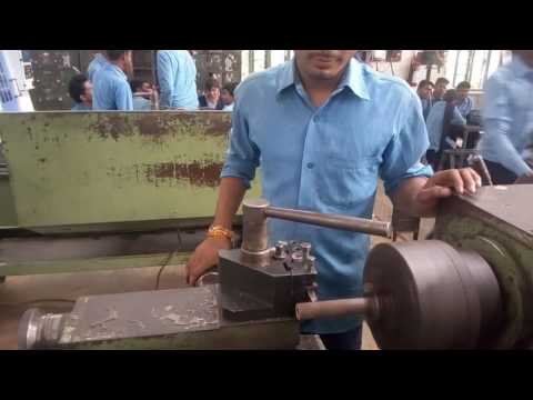Parting off opration on Lathe Machine  create by ITI Chhindwara