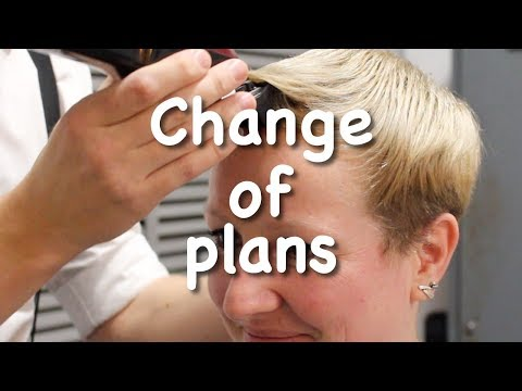 Hairdresser in the chair, she changed her mind!