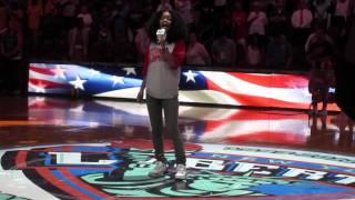Teyana Taylor sings National Anthem at WNBA game