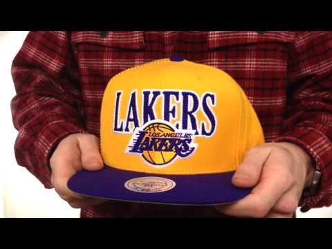 Lakers 'LASER-STITCH SNAPBACK' Gold-Purple Hat by Mitchell & Ness