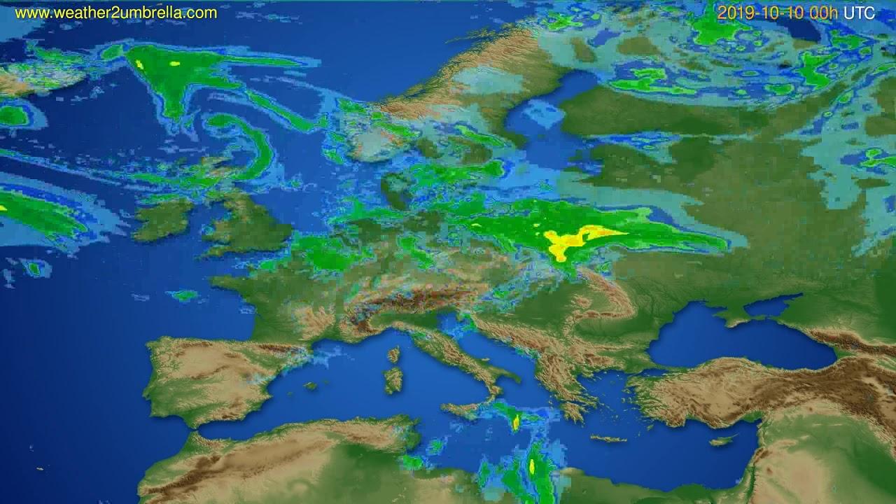 Radar forecast Europe // modelrun: 12h UTC 2019-10-09