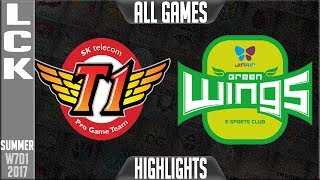 SK Telecom T1 vs Jin Air Greenwings Highlights ALL GAMES - Week 7 Day 1 LCK Summer 2017 - SKT T1 vs Jin Air GreenwingsLCK teams: Afreeca Freecs, bbq Olivers, Jin Air Greenwings, LongZhu Gaming, KT Rolster, MVP, Kongdoo Monster, ROX Tigers, Samsung Galaxy, SK Telecom T1LCK Spring 2017 playlist: https://www.youtube.com/playlist?list=PLJwuLHutaYuI5BdsTlhYB67MhL4VnO0w7☻All games spoiler free with stats and infographs at Stage: https://stage.gg/► All other previous tournaments: http://bit.ly/1WBqwLzKazaLoLLCShighlights -  bringing you fast highlights of LCS, LCK, LPL and LMS League of Legends Esports Matches every day♡♡♡♡♡♡♡♡♡♡♡♡♡♡♡♡♡♡♡♡♡♡♡♡♡♡♡♡♡♡✉ Social media below - Follow for regular updatesⓕⓑ  KazaGamez  ►http://on.fb.me/1N5j0EHⓖ+                            ►http://bit.ly/1Bpjrbaⓣⓦⓘⓣⓣⓔⓡ      ►Twitter      -  http://bit.ly/1BkVAtGⓣⓦⓘⓣⓒⓗ          ►Livestream: http://bit.ly/1BpjzYdⓓⓞⓝⓐⓣⓔ          ►Paypal: http://bit.ly/1cBU6JnSubscribe: http://bit.ly/1oZa2wJ
