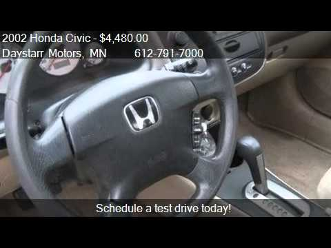 2002 honda civic ex sedan - This 2002 Honda Civic EX 4dr Sedan is for sale in Minnetonka, MN 55343 at Daystarr Motors. Contact Daystarr Motors at http://www.daystarrcars.com or http://www.carsforsale.com/used-cars-for-sale...