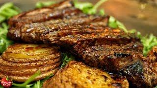 Video Best Steak and Potatoes! - Forest Cooking ASMR MP3, 3GP, MP4, WEBM, AVI, FLV November 2018