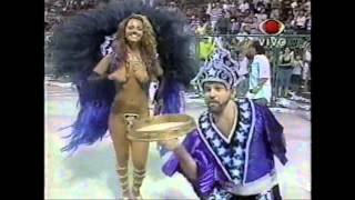 Viviane Araújo e Kiko Alves no desfile da Santa Cruz 1999