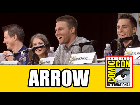Official - Full Arrow SDCC Official Panel 2014 with the cast Paul Blackthorne, John Barrowman, Willa Holland, Stephen Amell, Colton Haynes & David Ramsey and executive ...