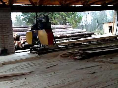 Работа на пилораме - изготовление пиломатериала