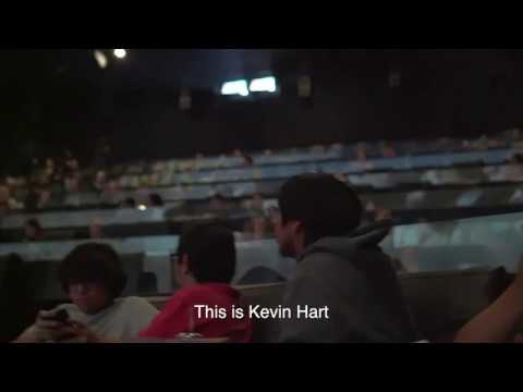 Kevin Hart and Dwayne Johnson in the theatre surprising fans watching Jumanji