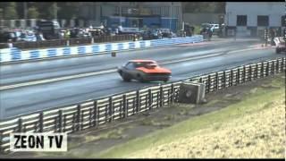 Mick Gould's Camaro Crashes At Yanks Weekend, Drag Racing 2012