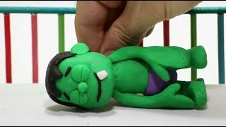 Baby Hulk needs Teddy bear Stop Motion Play Doh Cartoon for children