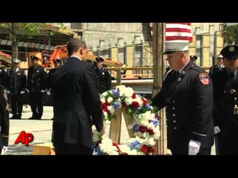 Raw Video: Obama Lays Wreath at Ground Zero