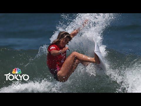 USA's Caroline Marks sets highest score in women's surfing Round 3 | Tokyo Olympics | NBC Sports