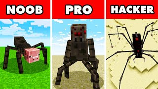Noob vs. Pro vs. Hacker : MUTANT SPIDER APOCALYPSE CHALLENGE! In Minecraft Animation