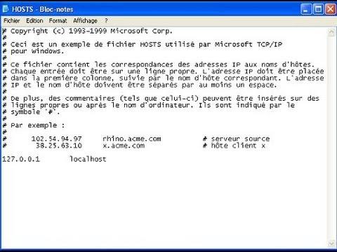 comment modifier fichier host