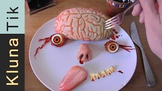 Klunatik Eating BRAINS, EYEBALLS and a TONGUE!!!  Kluna Tik Dinner #37 | ASMR eating sounds face