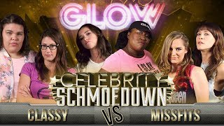 """It's time for the Celebrity Schmoedown! On today's match, the cast of Netflix's hit series GLOW joins forces with two of the league's top competitors to enter the ring of Movie Trivia. On team Classy are Britney Young (""""Machu Picchu"""") and Britt Baron (""""Justine""""), anchored by team captain """"Classy"""" Clarke Wolfe. Their opponents on team Missfits are Kia Stevens (""""The Welfare Queen"""") and Jackie Tohn (""""Melrose""""), with team captain """"Miss Movies"""" Brianne Chandler.GLOW is an original Netflix series inspired by the real story of the 1980's female wrestling league of the same name. The series is created by Liz Flahive and Carly Mensch (Nurse Jackie) and executive produced by Jenji Kohan (Orange is the New Black, Weeds). (Homeland, Nurse Jackie) and Carly Mensch. The series stars Alison Brie, Betty Gilpin, and Marc Maron. Watch Season 1 now at https://netflix.com/glowNew to the Schmoedown? Tune in for an exciting battle of movie knowledge that challenges the best minds in the entertainment industry. Competitors are asked a series of questions in a wide array of categories to test their knowledge of blockbusters, classics, and everything in between. Some players become fan favorites, others turn """"heel,"""" but no matter what their persona is, the victory goes to whomever has the most knowledge in the round. Watch every match in the Singles, Team, and Innergeekdom Leagues here: http://bit.ly/29C2iRVFollow us on Twitter: https://twitter.com/ColliderVideoFollow us on Instagram: https://instagram.com/ColliderVideoFollow us on Facebook: https://facebook.com/colliderdotcomFollow the ladies of GLOW:Britney Young: https://twitter.com/ItsBritneyYoungBritt Baron: https://twitter.com/brittbaronKia Stevens: https://twitter.com/MeanQueenKJackie Tohn: https://twitter.com/JackieTohnFollow the Movie Trivia Schmoedown Team:Clarke Wolfe: https://twitter.com/ClarkeWolfeBrianne Chandler: https://twitter.com/BrianneChandlerKristian Harloff: https://twitter.com/KristianHarloffKen Napzok: https://twitte"""