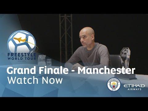 Video: PEP GUARDIOLA JUDGES FREESTYLE BATTLE   Freestyle World Tour   Grand Finale