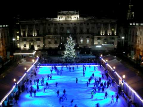 Time lapse footage of the Ice Rink at Somerset House