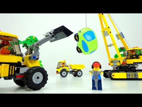 Машинки для детей. Игрушки Лего и машинки. Случай на стройке. (видео)
