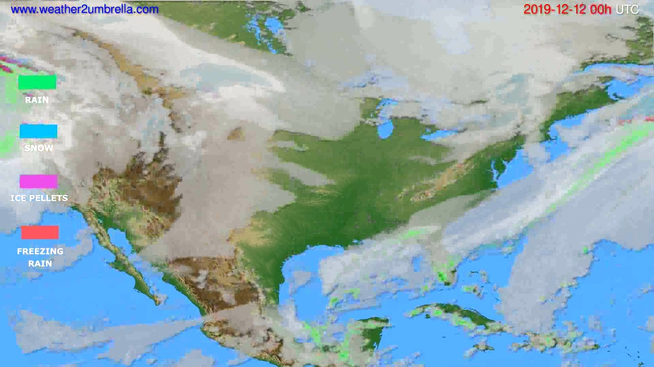 Precipitation forecast USA & Canada // modelrun: 00h UTC 2019-12-11