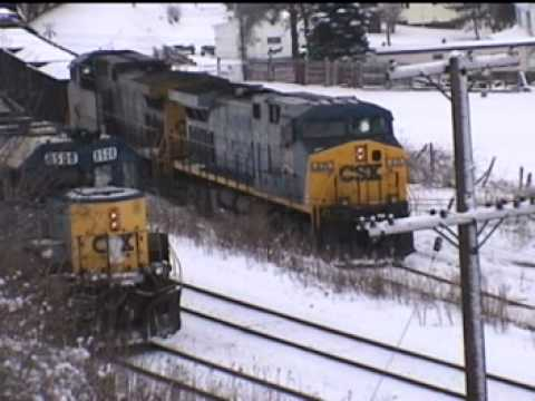 CSX locomotive - CSX 419 & 411 with loaded coal train V605 stalls coming off the Salsbury Branch just outside Meyersdale, PA. The engineer informs the dispatcher that they ha...