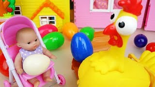 Chicken and Baby doll surprise eggs and Hello kitty kitchen toys play