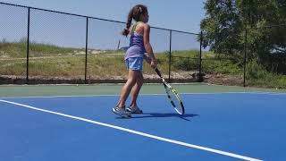 8 year old girl and truly phenomenal tennis talent! Played 1 year! Great Job! Keep working hard! GO!