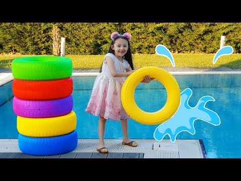 Öykü changes the Color of the pool and has so much fun kid video