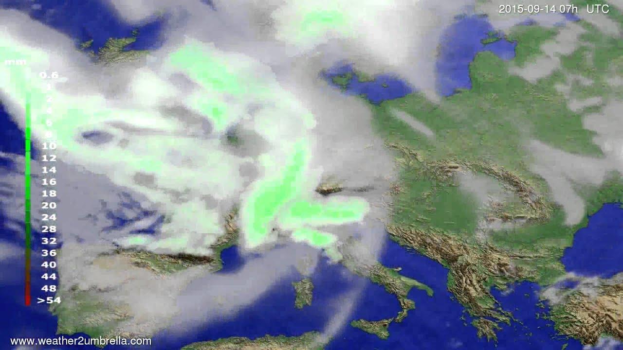 Precipitation forecast Europe 2015-09-10
