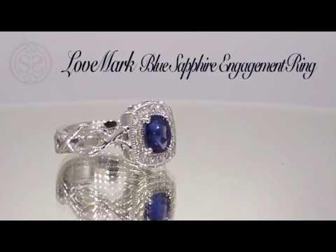 LoveMark Blue Sapphire Halo Engagement Ring