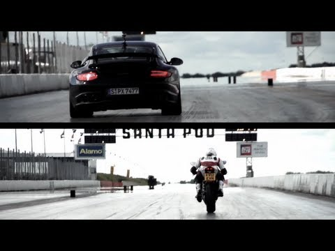 gt2 - Monster bike versus monstrous car. The bike has 192hp, the car 620. The venue was Santa Pod drag strip.