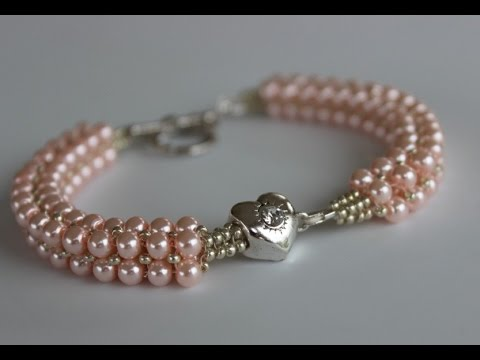 Beaded Bracelet with glass pearls and metal bead Браслет из жемчуга и металлически… видео