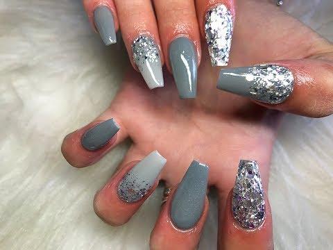 Grey acrylic nails ~ glitter nails ~ coffin nails ~ glam and glits ~ glitterbels