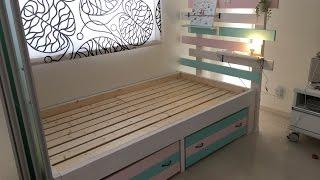 DIYで夢のベッドルームを作る♪【子供用カラフルベッドの作り方】