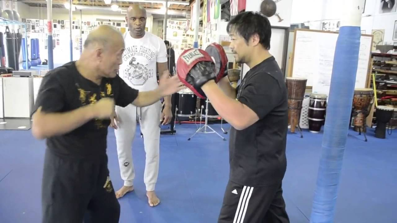 Anderson Silva train parry and strike with Dan Inosanto