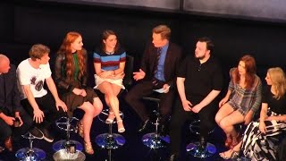 """Conan: Sansa's been through a lot. (Crowd awes) Andy: It's not real folks!"" Conan O'Brien with Game of Thrones cast at SDCC ..."