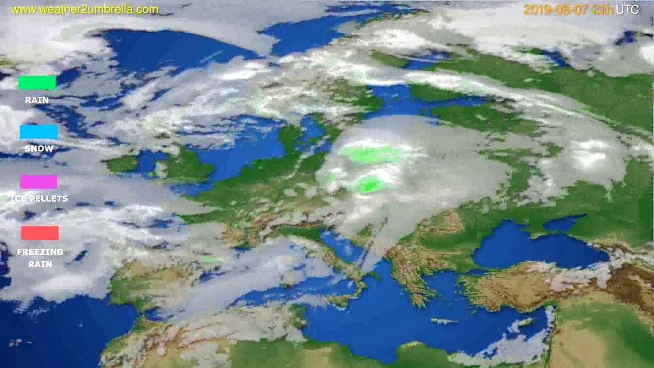 Precipitation forecast Europe // modelrun: 12h UTC 2019-08-05