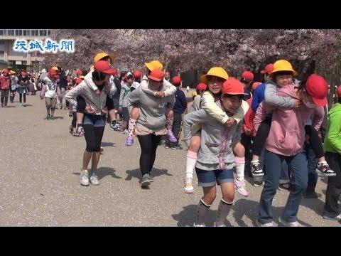 「真鍋の桜」が歓迎 小学校でお花見集会