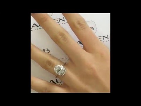 1.20 ct Oval Diamond Double Halo Ring with Plain Band