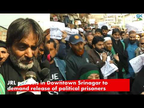 JRL protests in Downtown Srinagar to demand release of political prisoners