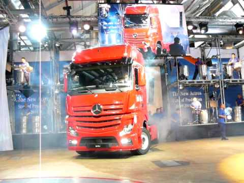 First ever New 2012 Model Mercedes Actros truck coming off series assembly line.MOV