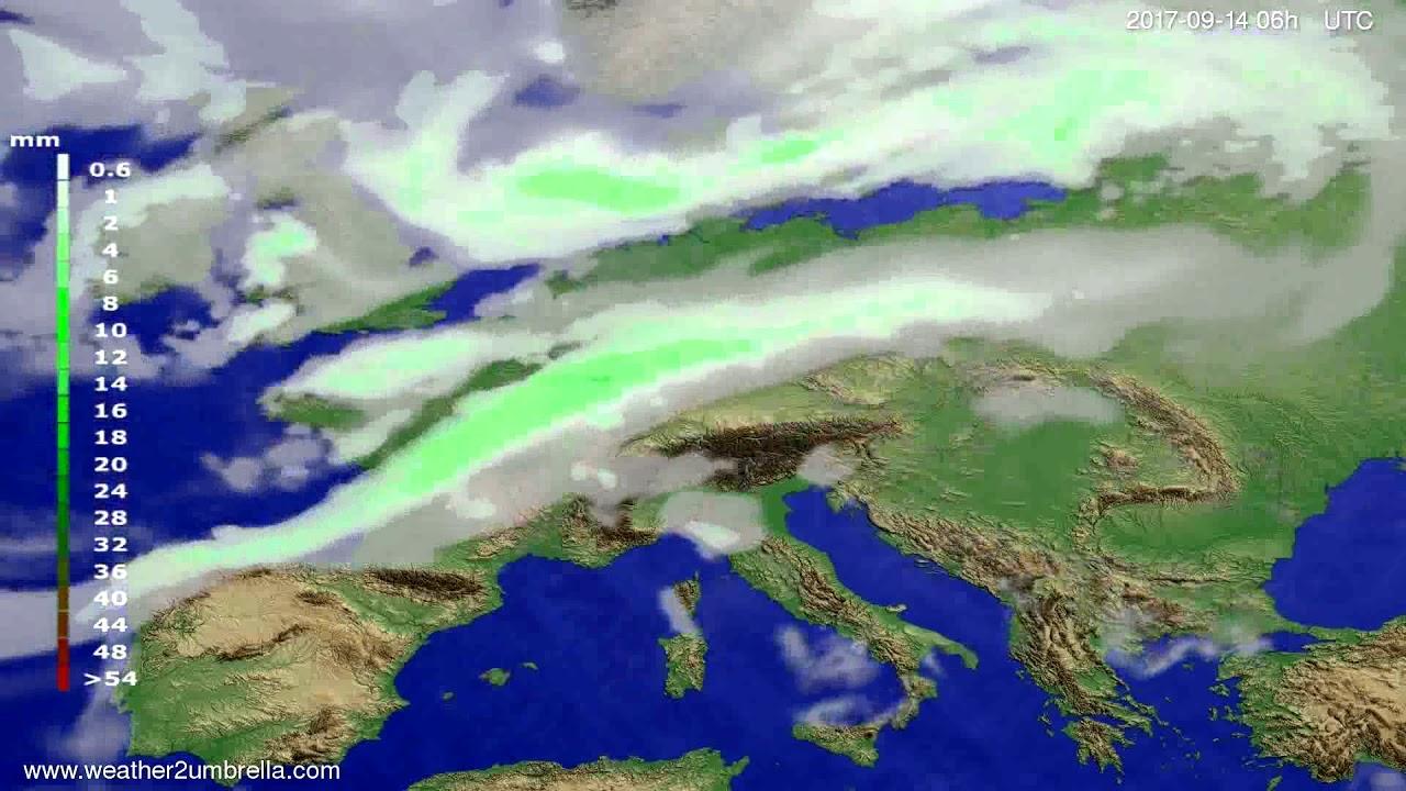 Precipitation forecast Europe 2017-09-11