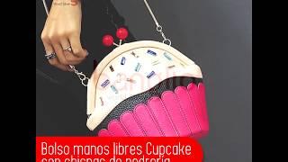 Bolso manos libres tipo Cupcake con chispas de pedrería