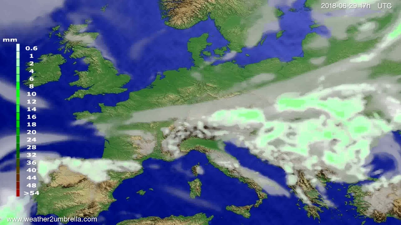 Precipitation forecast Europe 2018-06-27