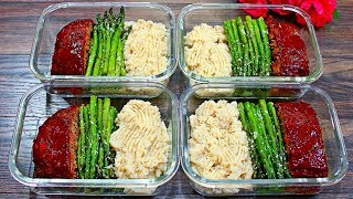 Healthy meatloaf recipe just got delicious with this easy healthy meal prep. Today i meal prep healthy meat loaf paired with a healthy mashed potatoes made with cauliflower, and a roasted asparagus recipe. Eating healthy is as delicious as this healthy meatloaf meal prep!!!    PLS SUBSCRIBE!!!!! INGREDIENTS Meatloaf recipe1 lb 93% lean ground beef 1 large onion 2 cloves garlic 1 red bell pepper 1/2 cup chopped carrots 1/2 cup chopped celery salt and pepper to taste 1Tbs fresh chopped thyme 3 slices whole wheat bread 1/2 cup low fat milk 1tsp each garlic and onion powder   1 egg 2 Tbs fresh chopped parsley 1/3 cup ketchup 2 Tbs tomato paste 1 Tbs Molases or honey  Cauliflower Mash 2 heads Cauliflower 3 Tbs butter 1/4 tsp each garlic and onion powder salt and pepper to taste 1/4 tsp dried parsley Roasted Asparagus Asparagus (Use as much as you like)salt and pepper to taste1/4 cup grated parmesan cheese
