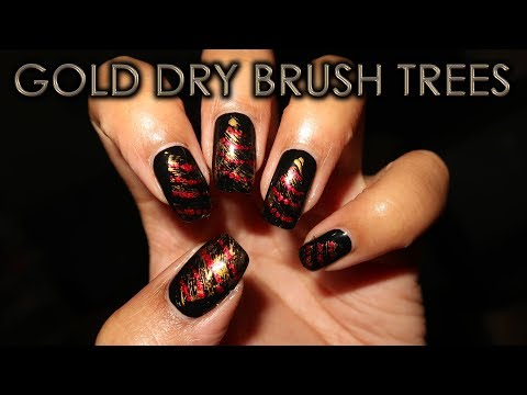 Gold Dry Brush Christmas Trees  12 Days of Christmas Nail Art  DIY Tutorial