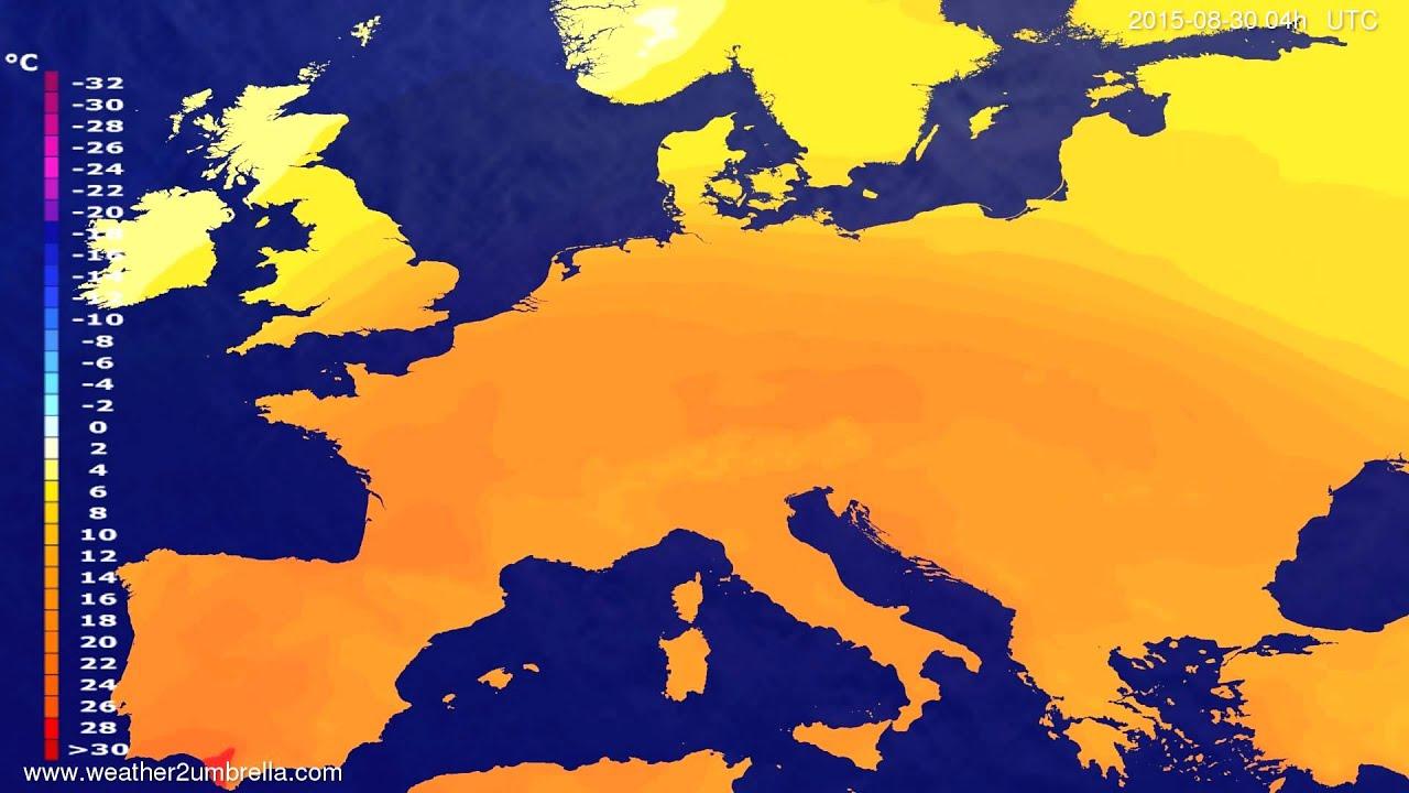 Temperature forecast Europe 2015-08-27
