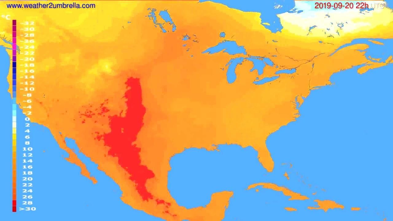 Temperature forecast USA & Canada // modelrun: 12h UTC 2019-09-18